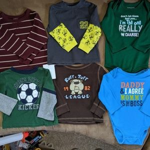 Lot of (6) long sleeve shirts, size 18 months